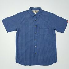 The North Face Mens Sz S/P Blue Plaid Short Sleeve Button Down Pocketed Shirt