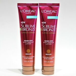 Loreal Sublime Bronze Wash-Off Body Makeup Lotion Medium 3.55 fl oz Lot of 2