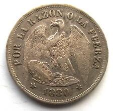 Chile 1880 Eagle 1 Peso Silver Coin