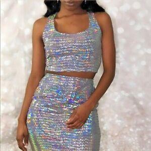 Womens Silver Small Two Piece Set Sleeveless Midrif Top Skirt Slit Sexy Ragdoll