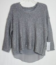NWT WOMENS SZ M 8-10 JENNIFER LOPEZ GRAY & SILVER LUREX & SEQUIN SHIMMER SWEATER