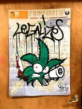 Weed Graffiti On NYC MTA Subway map painted by artist MAKE$ + (FREE STICKERS)