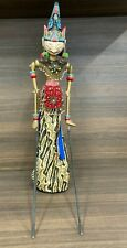 Dramatically Styled Vintage Wooden Indonesian Marionette Doll on Stand
