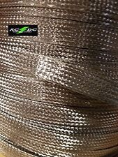 "Stainless Steel Flat Braid Sleeving 304 - 3/8"" - length 5 ft Usa Made"