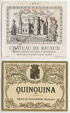 ÉTIQUETTES VINS CHÂTEAU DE RICAUD LOUPIAC 1952 VIN DE TÊTE & QUINQUINA