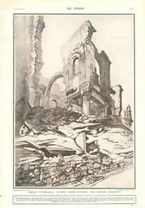 1918  ANTIQUE PRINT- ART - ARRAS CATHEDRAL FROM OUTSIDE THE NORTH TRANSEPT