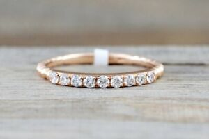 Rose Gold Diamond Bead Band Ring Band Stacking Sterling silver jewelry