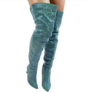 Women's Pointy Toe Stilettos High Heel Rhinestones Shoes Over The Knee Boots L