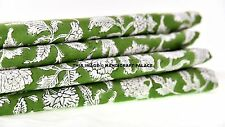 2.5 Yard Indian Hand Block Print Fabric 100 % Cotton Green Flower Print Fabric