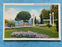 Lakeside Park on Seneca Lake, Geneva New York Vintage Postcard