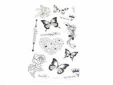 2 buste tatuaggi  temporanei tattoo tatuaggio farfalla rose 10x6cm colore nero