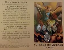 ST. MICHAEL SAINT MICHAEL 5 BLESSED MEDALS HOME CLEANSING KIT PRAYER CARD SAGE