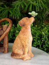 Miniature Dollhouse FAIRY GARDEN Accessories ~ Golden Retriever Dog w Butterfly