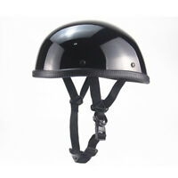 DOT Motorcycle Half Helmet Lightweight Skull Cap Scooter Chopper Glossy Black