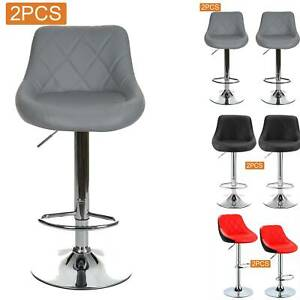 2X Bar Stools Leather Swivel Gas Lift Chair Kitchen Breakfast Pub Black,Red,Grey