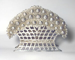 Lovely ANTIQUE 800 Silver ORNATE ROSE FLOWER Repousse NAPKIN HOLDER 4.5 oz