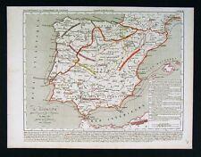 1841 Houze Map Spain Portugal Barbarian Invasion Vandel