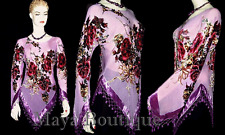 Victorian Roses Silk Top Blouse Beaded Burnout Velvet Lilac Maya Clothing S - XL
