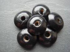 Black wood 14mm round disc shaped beads 35g - approx 100+