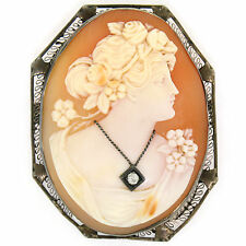 Vintage 14k Weiss Gold groß geschnitzter Gemme & Diamant offen filigraner