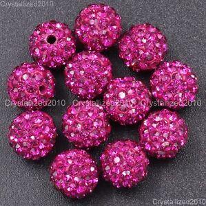 20Pcs Premium Czech Crystal Rhinestones Pave Clay Round Disco Ball Spacer Beads