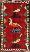 BLACK FRIDAY Animal Pictorial Gabbeh Oriental Area Rug Handmade RED Carpet 4x6