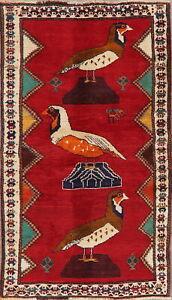BLACK FRIDAY Animal Pictorial Gabbeh Oriental Area Rug Handmade RED Carpet 4x6