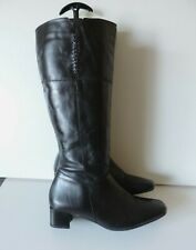 South Black Low to Mid Heel Knee Boots Cross Stitch Detail 60's Style UK5 EU38