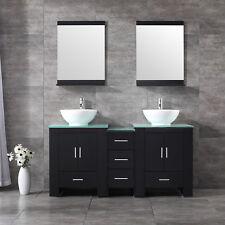60inch Bathroom Vanity Plywood Cabinet Ceramic Vessel Sink Glass Top Set Black