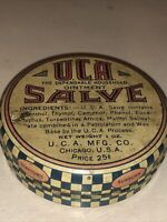 VINTAGE-TIN-LITHO-ADVERTISING-UCA-OINTMENT-SALVE-25 CENTS-CHECKERBOARD