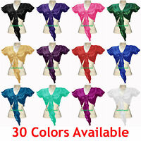 Satin BellyDance Tie Top Short Ruffle Wrap Choli Gypsy Haut Danse Blouse 30Color