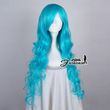 85CM Sky Blue Long Curly Women Fashion Hair Party Cosplay Wig Heat Resistant