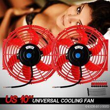 "2 X 10"" Universal Slim Fan Push Pull Electric Radiator Cooling 12V Mount Kit"