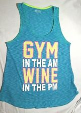 EVCR Women's Work Out Tank Top L Large GYM In Am WINE In Pm Shirt Blue EUC