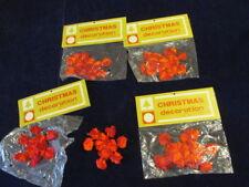 "Vintage Red Chenille 4"" Snowflake West Germany Lot of 8 Unused YC17"