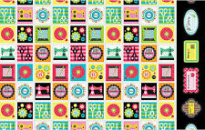 """QUILT Fabric MADE WITH LOVE Cotton Craft Quilting Large Panel 44"""" x 23"""""""