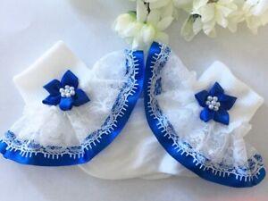 Handmade Royal blue beaded flower lace white frilly socks baby/girls