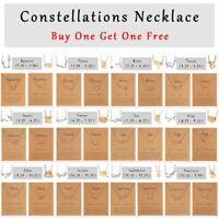 2Pcs 12 Constellation Zodiac Sign Pendant Necklace Women Choker Chain Jewellery