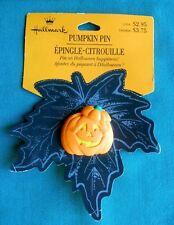 HALLMARK Halloween PIN PUMPKIN YELLOW FACE w LID JACK-O-LANTERN LAPEL PIN-NOC