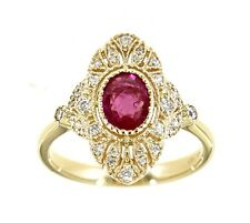 0.75CT Ruby Gemstone 14K Yellow Gold Real Diamond Victorian Style Ring Jewelry