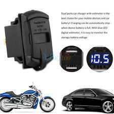 12V 4.2A Doppia USB Caricatore Presa Impermeabile LED Voltometro Per Auto Moto