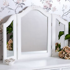 White Triple Dressing Table Mirror Shabby Vintage Chic Freestanding Vanity Home