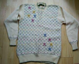 """Ladies TULCHAN Cream Mix  Pattern Wool  Crew Neck Jumper - Size L  Bust 38"""" ."""