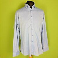 TM Lewin Mens Shirt Business Casual Size Large Blue Finest Cotton Regular
