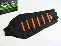 KTM EXC EXCF EXC/F 2017-19 RIBBED GRIPPER SEAT COVER BLACK + ORANGE STRIPES RIBS