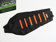 KTM SX SXF SX/F 2016-2018 RIBBED GRIPPER SEAT COVER BLACK + ORANGE STRIPES RIBS