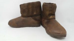 New Womens Avon Indoor/Outdoor Memory Foam Cable Knit Boot Brown 197LM dr