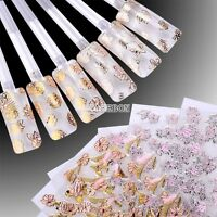 3D 108PCS Gold foil Flower Nail Art Tips Stickers Decal Decoration Stamping EA