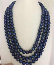 """three strands 9-10mm baroque black blue pearl necklace 18"""" 19"""""""