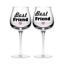 New 2 Best Friend with hearts wine glass vinyl stickers Decals Decoration Gift